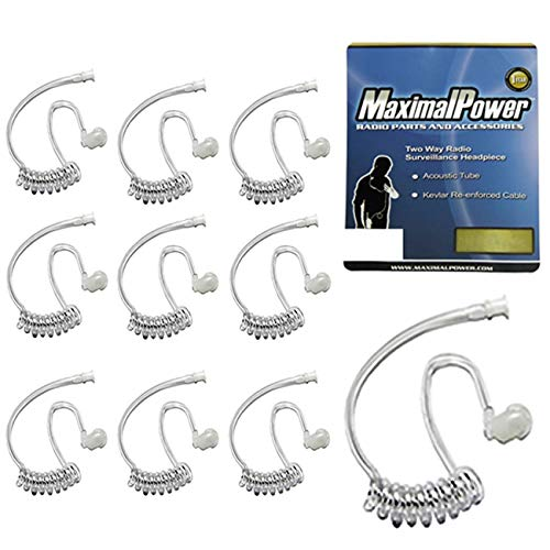 2 Way Replacement - Pack of 10 - Twist On Replacement Acoustic Tube for 2-Way Radio Headsets by MaximalPower