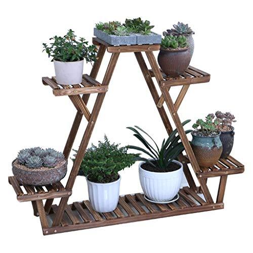 XJZxX-Plant Flower Stand Solid Wood Plant Stand Triangular Plant Shelf Multi Tier Flower Display Holder Indoor Outdoor…