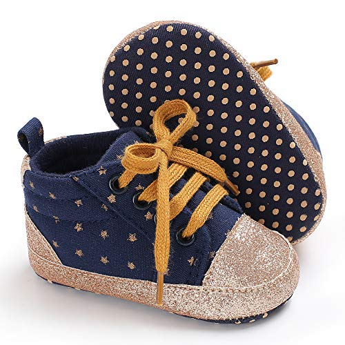 Tutoo Unisex Baby Boys Girls Star High Top Sneaker Soft Anti-Slip Sole Newborn Infant First Walkers Canvas Denim Shoes (12-18 Months M US Infant, -
