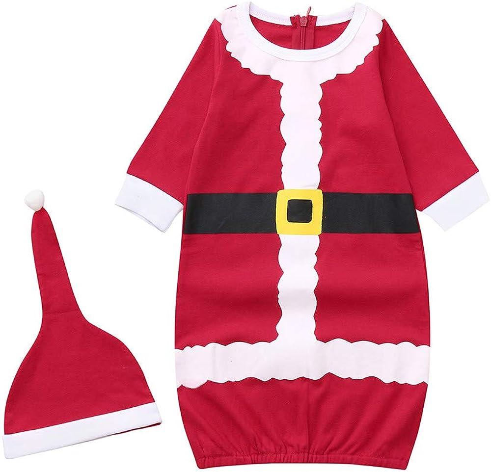 Newborn Infant Baby Boys Girls Pajamas Christmas Swaddle Sleeping Bag with Hat