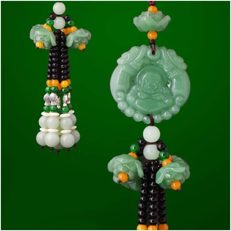 E-Brave Troops White Dangling Ornaments Vehicle Accessory Rearview Mirror Charms Pendant Brave Troops Crystal Lotus Car Pendant Amulet Pray for Luck Safety Car Hanging Decoration