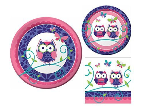 Owl Pal 16 Guest Party Supply Bundle (3 Items) - Dinner Plates, Dessert Plates & Napkins]()