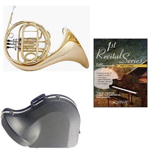 Band Directors Choice Single French Horn in F - First Recital Series French Horn Pack; Includes Student French Horn, Case, Accessories & First Recidal Series French Horn Book by French Horn Packs