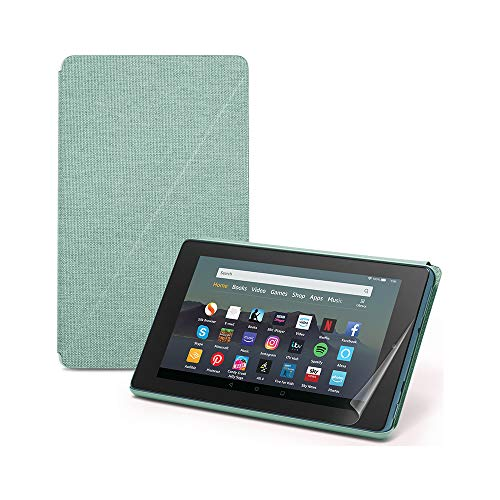 Fire 7 Essentials Bundle | Includes Fire 7 Tablet (Blue) with Alexa, 7″ Display, 16 GB; with Special Offers, Amazon Cover (Sage) and NuPro Screen Protector Kit (2-pack)
