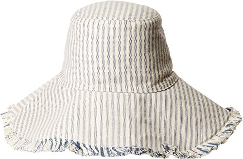 Hat Attack Women's Fringed Edge Sunhat Narrow Blue Stripe One Size