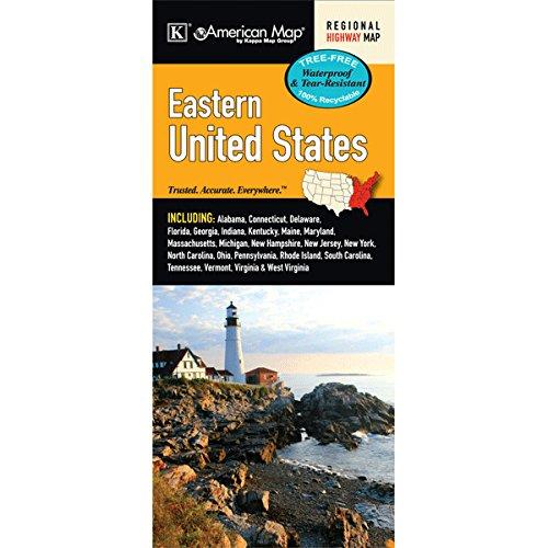 US Eastern Region Waterproof Map (Road Map Of East Coast United States)