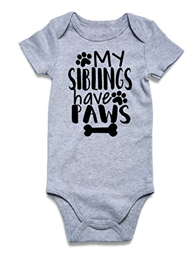 Funnycokid Infant Girls Boys Romper Jumpsuit My Siblings Have Paws Letter Printed Baby Layette One Piece 6-12 ()