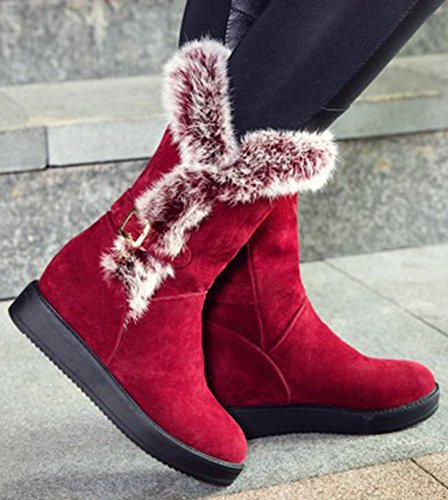 IDIFU Womens Warm Faux Fur Buckle Hidden Wedge Heels Platform Mid Calf Snow Boots Red QFj8x