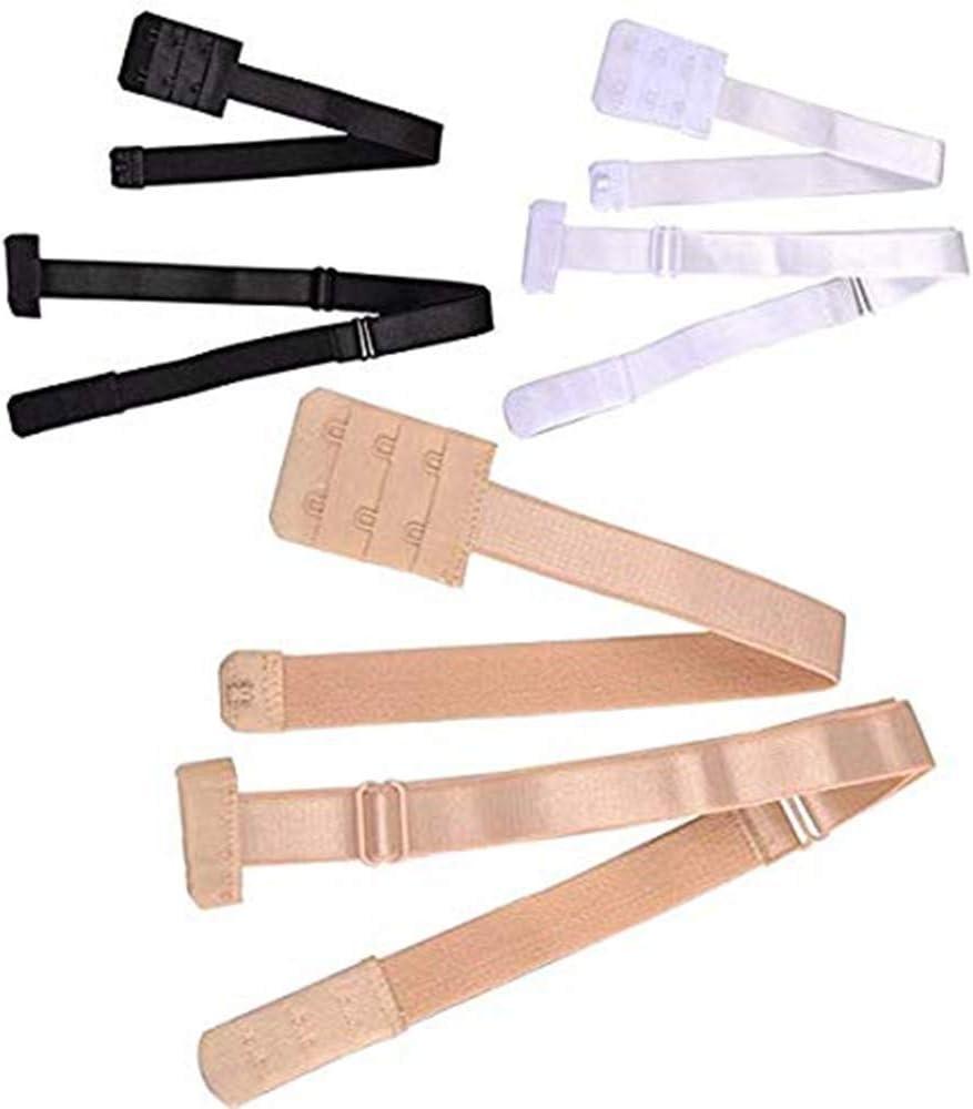 FLZONE Mujer Extensores de Sujetador,3 Pares Respaldo Bajo Sujetador Extensor Correa de Espalda Baja para Vestido Sin Espalda de Se/ñora Desnudo Negro Blanco