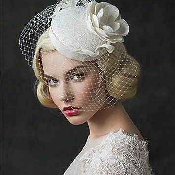 RNXRBB Vintage Wedding Bridal Hair Accessories Flower Tulle Veil Headpiece Head Veil Mini Wedding Bride Hat Women Veil Mesh Headwear Hat Bowler Hats