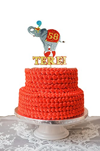 Circus Cake Topper Personalized Circus theme party Vintage big top 3 ring circus