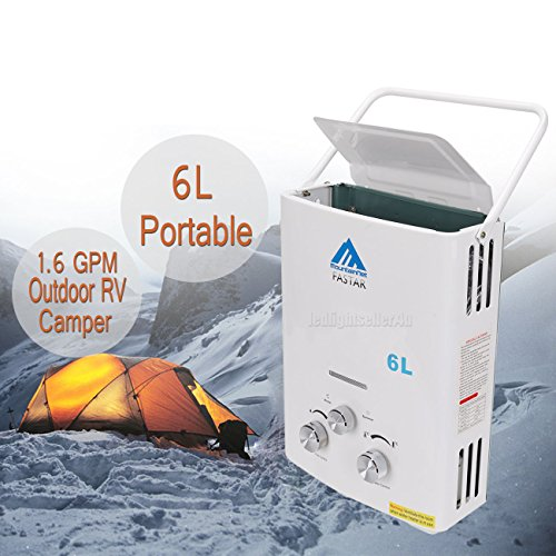 PanelTech 6L Portable Tankless Hot Water Heater Propane Gas LPG 1.6 GPM Outdoor RV Camper Shower
