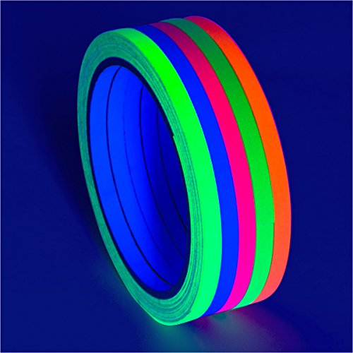 5-Pack UV Blacklight Reactive Fluorescent/Neon Party Tape (.25 in x 30 ft - Narrow) -