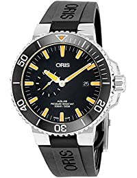 Aquis Small Second Date Mens Stainless Steel Automatic Diver Watch - 45mm Analog Black Face 500M