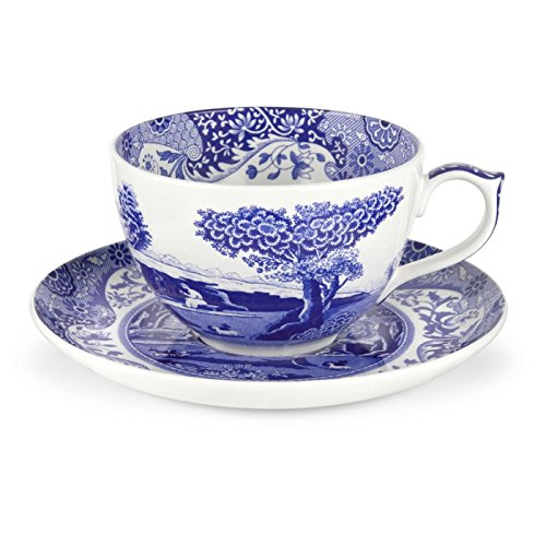 White China Teacup - Blue Italian 20 oz. Jumbo Cup and Saucer