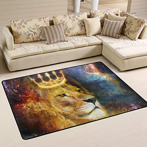 Lion King Cosmic Space Area Rugs 5×7 Colorful Modern Area Rug