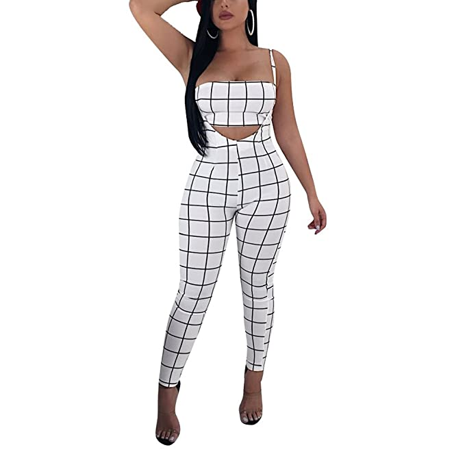 b04273730f1 Women s Sexy Sleeveless Jumpsuits Bodycon 2 Piece Outfits Crop Top and  Pants Set Overalls White S