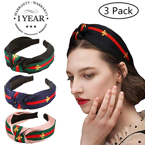 Headband Red Green - Red Green Stripe Headbands for Women - Hair Hoops with Bee Animal - Cross Knot Hairbands with Cloth Wrapped for Girls - 3Pcs (3 Pack-Style 1)
