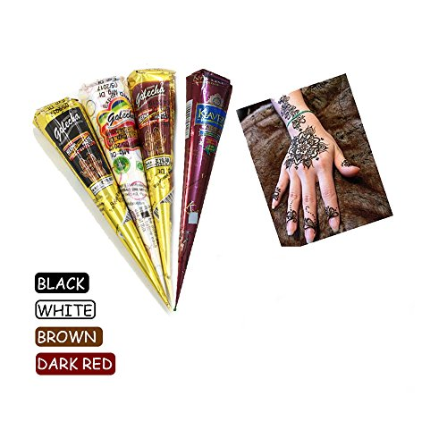 India Painting Tattoo Paste Cone,4 Tube Black White Red Brown Paste Cone Temporary Tattoo Kit Indian Body Art Painting Drawing with free Stencil