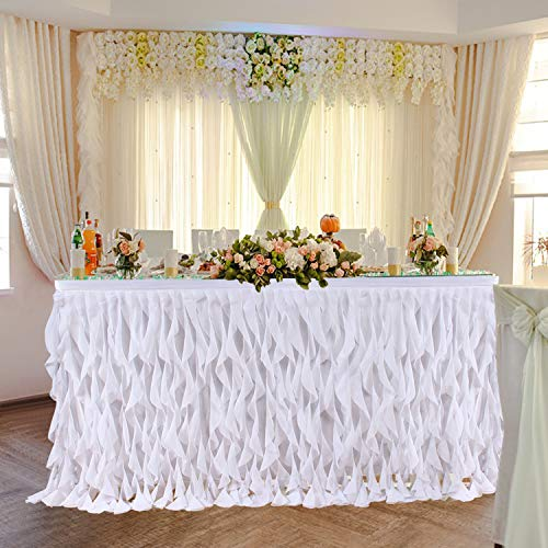 Leegleri 9 ft White Curly Willow Table Skirt Tulle Ruffle Table Skirt for Rectangle Table or Round Table,Tutu Table Skirt for Baby Shower,Wedding,Birthday Party (L 9(ft) H 30in)