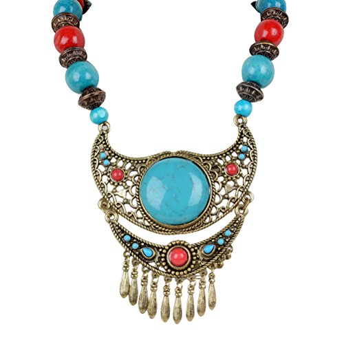 Unique Wood Beaded Hollowed Enamel Resin Lucite Antique Necklace (Wood Beaded Jewelry)