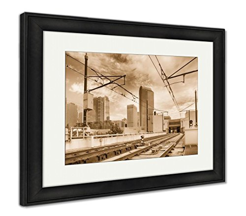 Ashley Framed Prints Financial Skyscraper Buildings In Charlotte North Carolina Usa  Wall Art Home Decoration  Sepia  26X30  Frame Size   Black Frame  Ag6349771