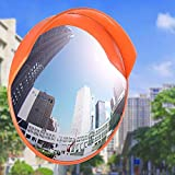 Reliancer 24' Security Mirror PC Convex Traffic Mirror Wide Angle Curved Safety Mirror Circular Pole Mount w/Adjustable Bracket for Outdoor Indoor Driveway Road Shop Garage Parking Lot Blind Spot