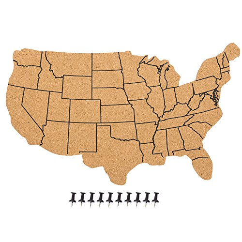 (Juvale USA Map Cork Board - Wall-Mounted Hanging Bulletin Board - Perfect Decor Home, Office, Schools, Restaurants - 17.7 x 11.2 x 0.03 inches)