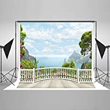 Kate 10x6.5ft(3mx2m) Natural Scenery Photography Backdrops for Photographers White Fence Photo Backdrop Seamless No Wrinkle Mountain Photo Studio Background HJ05338