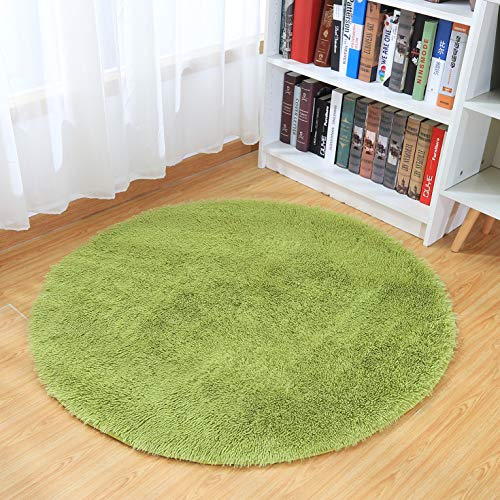 Junovo Round Fluffy Soft Area Rugs for Kids Room Children Room Girls Room Nursery,4 Feet (Green)
