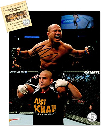 - BJ Penn Autographed/Signed 8x10 UFC MMA Photo Memorabilia Certified with WCA Dual Authentication Holograms and COA