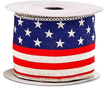 USA flag ribbon wired ribbon 4th of July Ribbon USA map with star border wired ribbon patriotic ribbon American Flag wired ribbon