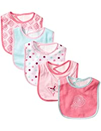 5 Piece Character Bib with Waterproof Backing, Pink Butterfly