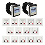 iMeshbean Wireless Pager Calling System Waiter Nurse Service Caregiver Paging for Restaurant Cafe Shop Teahouse Nursing Home 2 Wristwatch Receiver + 14 pcs Call buttons USA Seller