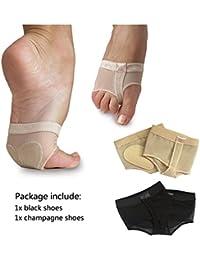 Women's 2 Pairs Dance Paws Pad Foot Thongs Toe Undies Half Lyrical Shoes Socks