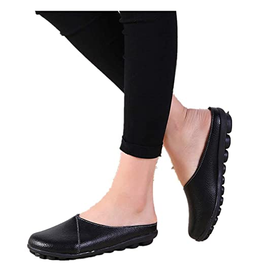 2e9c8073c11c4 Women's Leather Loafers Casual Cut Out Slippers Slip-on Soft Comfort Bottom  Beach Flats Shoes