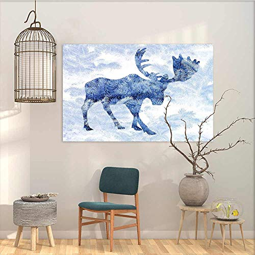 (Oncegod Art Oil Painting Sticker Murals Moose Blue Pattern Pine Needles Spruce Tree with Antlers Deer Family Snow Winter Horns Modern Decorative Artwork Blue White W47 xL31)