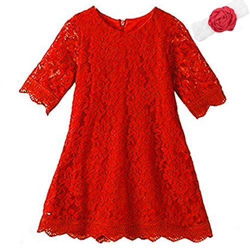 Lace Flower Girl Dress White Elegant Bridesmaid Dress Size 6 Wedding Party Fall Holiday Pageant Girl Dress Formal Ball Gowns Long Sleeve Knee Length Christmas Easter Flower (Big Red 150) -