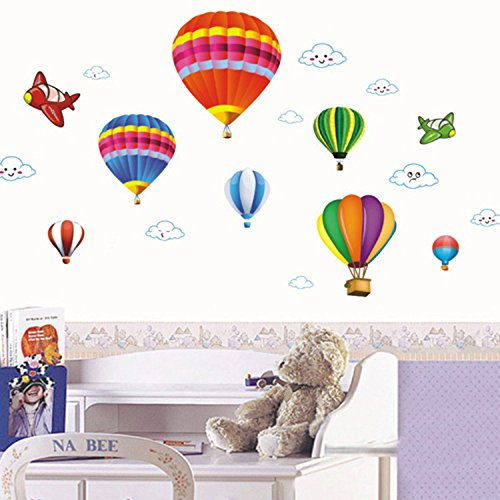 Amaonm Removable Creative 3D Hot air Balloon Aircraft and Smile Clouds Wall Decals Kids room Wall Decorations art Decor Stickers Nursery Decor 3D art Decal Bedroom Bathroom Sticker by Amaonm (Image #3)
