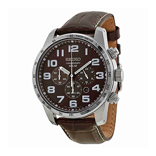 Seiko Men's SSC227 Stainless Steel Solar Watch with Brown Leather (Seiko Mens Watch Leather Band)