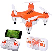 E-SCENERY RC 2.4G Fpv 6-Axis Gyro 4CH 3D Flip Foldable Quadcopter, Remote Control Pocket Drone with Wifi HD Camera and LED Night Light, Rechargeable Battery