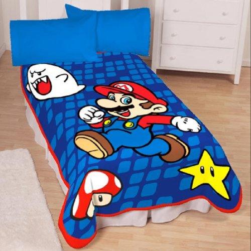 linge de lit mario bros Super Mario Bros XXL Couverture 157 x 230cm Nintendo Plaid Géant  linge de lit mario bros