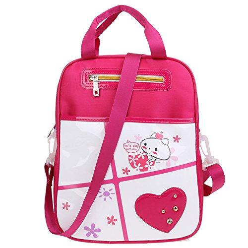 Domybest - Bolso mochila  de Piel para mujer rosa roja
