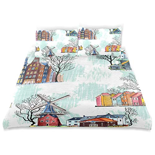 TARTINY Duvet Cover Set Seamless Pattern Amsterdam Architecture Windmills Watercolor Decorative Piece Bedding Set with Pillow Shams