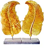 Pair of Thai Handcraft Wooden Real Gold Leaf Gilding Fern Leaf on Stand