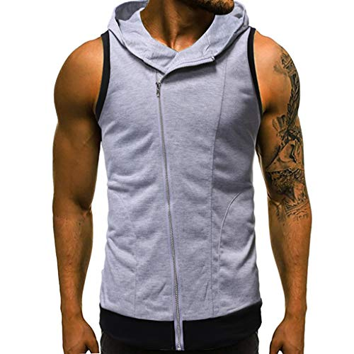 MmNote mens clothes clearance sale, Men Diagonal Zipper Vest Jacket Patchwork Sleeveless Contrast Hoodie Short Sleeve T-Shirt Gray