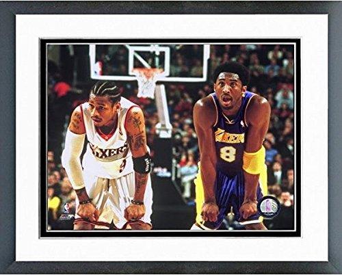 Allen Iverson & Kobe Bryant NBA Action Photo (Size: 12.5'' x 15.5'') Framed