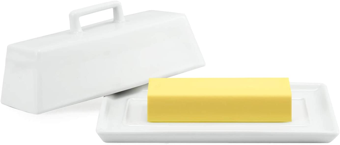 Connyam Ceramic Butter Dish with Handle Lid, Dishwasher Safe