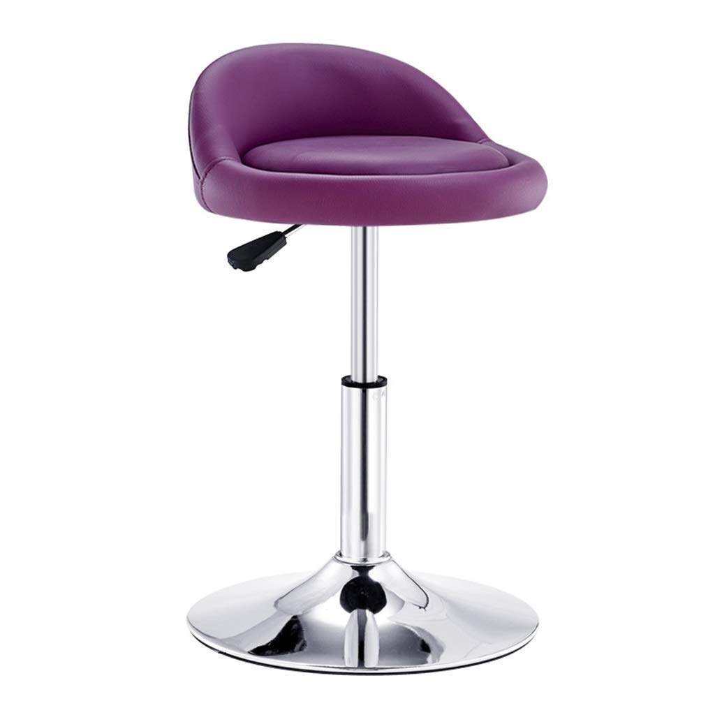 DHMHJH Round Metal Bar Stool 360° Swivel Height Adjustable Leather Cushion Seat (Color : Purple)
