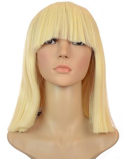 Peluca rubia de pelo grueso y peinado bob recto al estilo Sia | Flequillo recto |